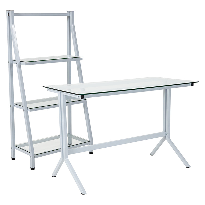 Flash Furniture Winfield Collection Glass Computer Desk and Bookshelf with White Metal Frame