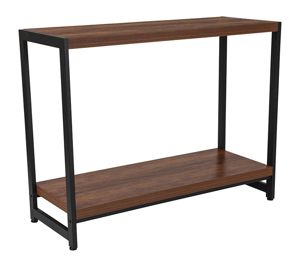 Flash Furniture Grove Hill Collection Console Table with Rustic Wood Grain Finish and Black Metal Frame