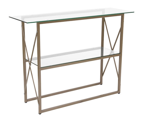 Flash Furniture Mar Vista Collection Glass Console Table with Matte Gold Frame