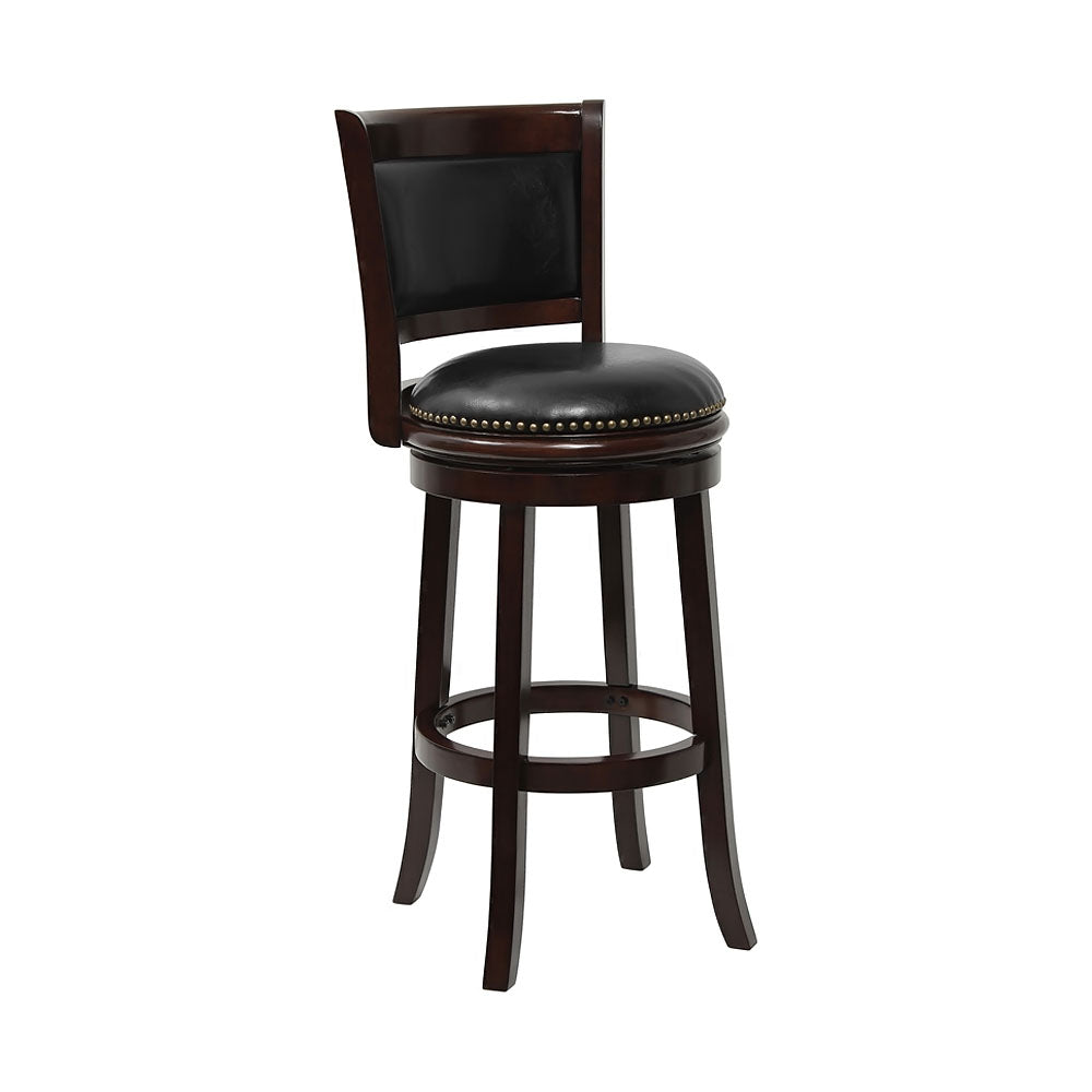 "Flashfurniture 24""Cappuccino Wood Counter Height Stool Black Leather Swivel Seat"