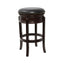"24"" Backless Cappuccino Wood Counter Height Stool Black Leather Swivel Seat"