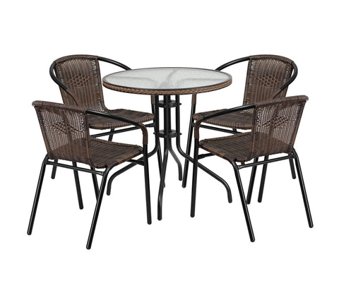 Flash Furniture 28'' Round Glass Metal Table with Dark Brown Rattan Edging and 4 Dark Brown Rattan Stack Chairs