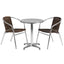 "Flash Furniture 23.5"" Round Aluminum Indoor-Outdoor Table With 2 Rattan Chairs"