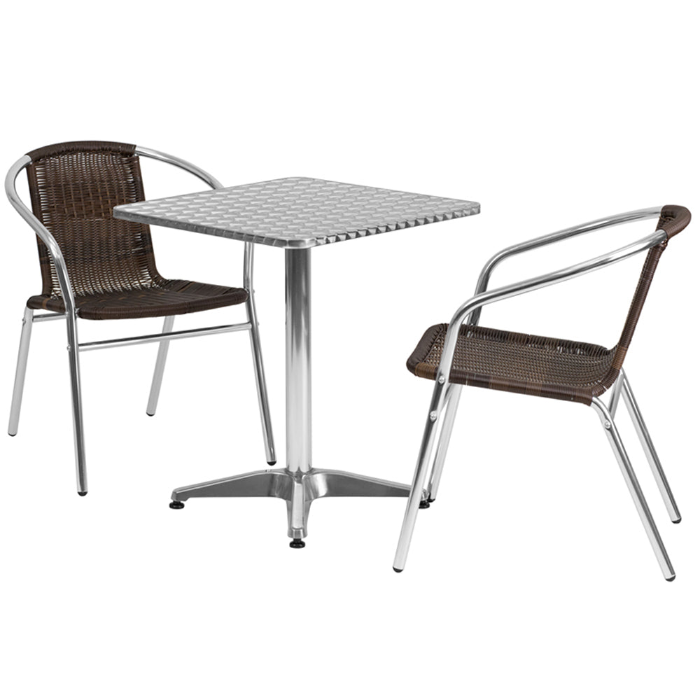 "Flash Furniture 23.5"" Square Aluminum Indoor-Outdoor Table With 2 Rattan Chairs"