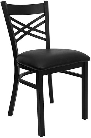 "HERCULES SERIES BLACK ""X"" BACK METAL RESTAURANT CHAIR WITH BLACK VINYL SEAT"