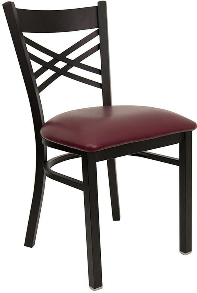 "HERCULES SERIES BLACK ""X"" BACK METAL RESTAURANT CHAIR WITH BURGUNDY VINYL SEAT"