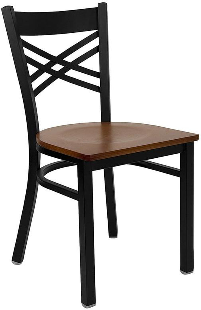 "HERCULES SERIES BLACK ""X"" BACK METAL RESTAURANT CHAIR WITH CHERRY WOOD SEAT"