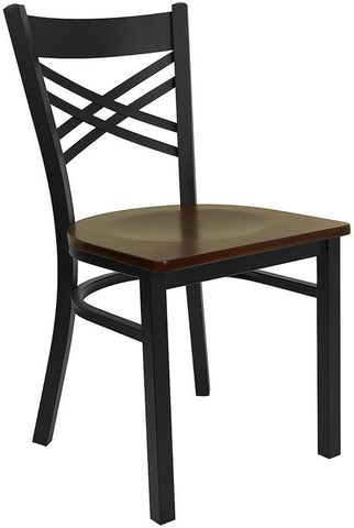 "HERCULES SERIES BLACK ""X"" BACK METAL RESTAURANT CHAIR WITH MAHOGANY WOOD SEAT"
