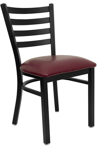 HERCULES SERIES BLACK LADDER BACK METAL RESTAURANT CHAIR WITH BURGUNDY VINYL SEAT