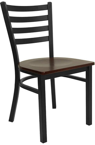 HERCULES SERIES BLACK LADDER BACK METAL RESTAURANT CHAIR WITH MAHOGANY WOOD SEAT