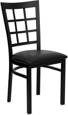 HERCULES SERIES BLACK WINDOW BACK METAL RESTAURANT CHAIR WITH BLACK VINYL SEAT