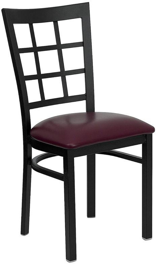 HERCULES SERIES BLACK WINDOW BACK METAL RESTAURANT CHAIR WITH BURGUNDY VINYL SEAT