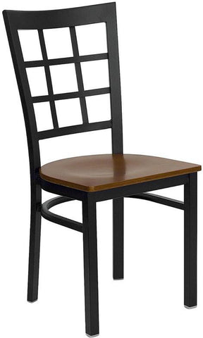 HERCULES SERIES BLACK WINDOW BACK METAL RESTAURANT CHAIR WITH CHERRY WOOD SEAT