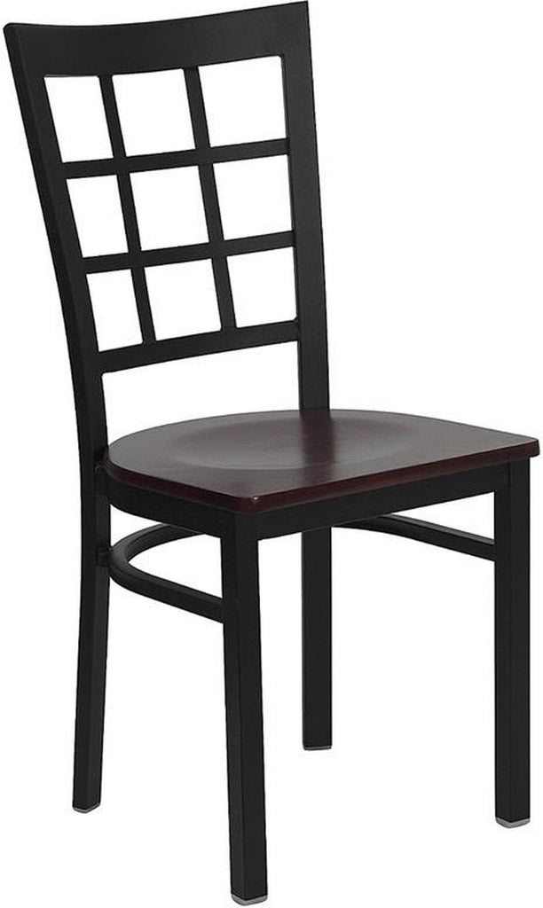 HERCULES SERIES BLACK WINDOW BACK METAL RESTAURANT CHAIR WITH MAHOGANY WOOD SEAT
