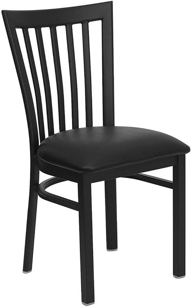 HERCULES SERIES BLACK SCHOOL HOUSE BACK METAL RESTAURANT CHAIR WITH BLACK VINYL SEAT