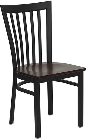 HERCULES SERIES BLACK SCHOOL HOUSE BACK METAL RESTAURANT CHAIR WITH MAHOGANY WOOD SEAT