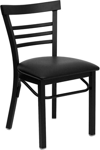 HERCULES SERIES LADDER BACK BLACK METAL RESTAURANT CHAIR WITH BLACK VINYL SEAT