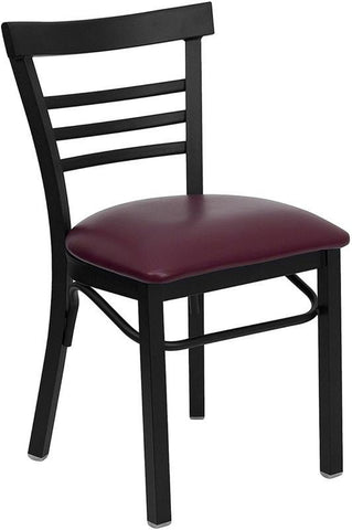 HERCULES SERIES LADDER BACK BLACK METAL RESTAURANT CHAIR WITH BURGUNDY VINYL SEAT