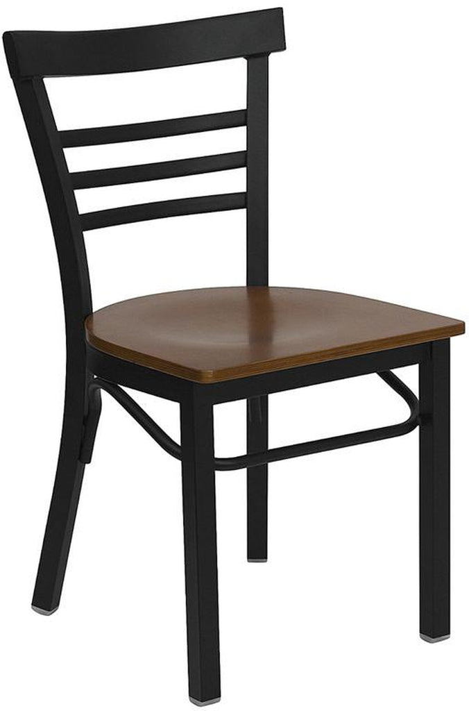 HERCULES SERIES LADDER BACK BLACK METAL RESTAURANT CHAIR WITH CHERRY WOOD SEAT