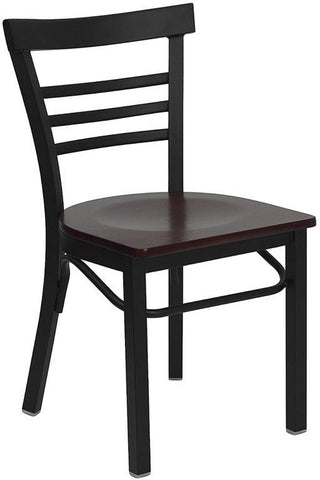HERCULES SERIES LADDER BACK BLACK METAL RESTAURANT CHAIR WITH MAHOGANY WOOD SEAT