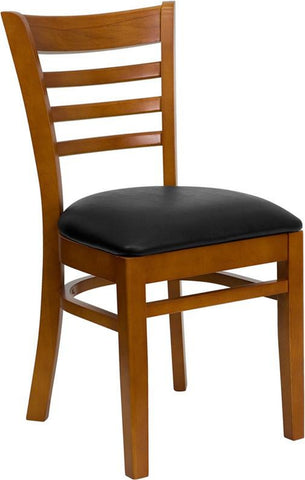 HERCULES SERIES CHERRY FINISHED LADDER BACK WOODEN RESTAURANT CHAIR WITH BLACK VINYL SEAT