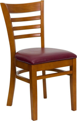 HERCULES SERIES CHERRY FINISHED LADDER BACK WOODEN RESTAURANT CHAIR WITH BURGUNDY VINYL SEAT