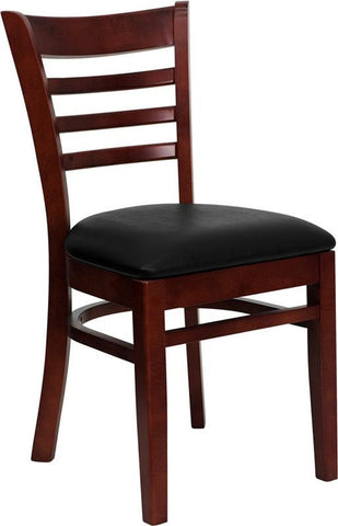 HERCULES SERIES MAHOGANY FINISHED LADDER BACK WOODEN RESTAURANT CHAIR WITH BLACK VINYL SEAT