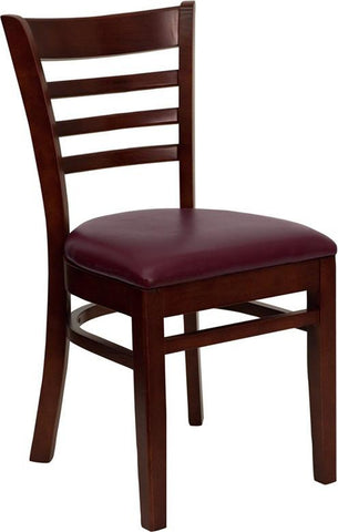 HERCULES SERIES MAHOGANY FINISHED LADDER BACK WOODEN RESTAURANT CHAIR WITH BURGUNDY VINYL SEAT