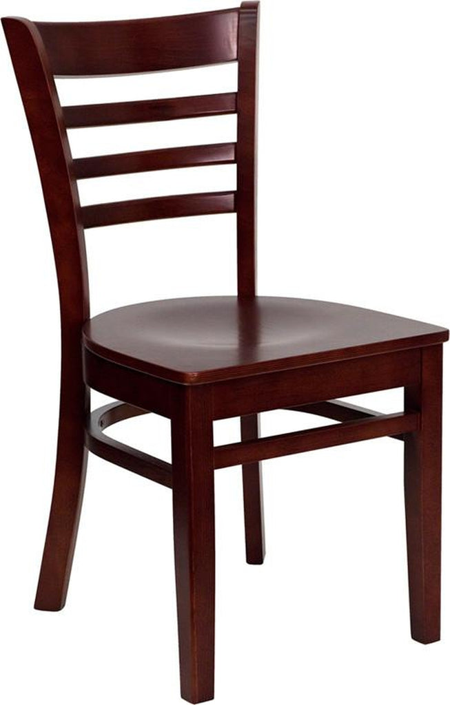 HERCULES SERIES MAHOGANY FINISHED LADDER BACK WOODEN RESTAURANT CHAIR