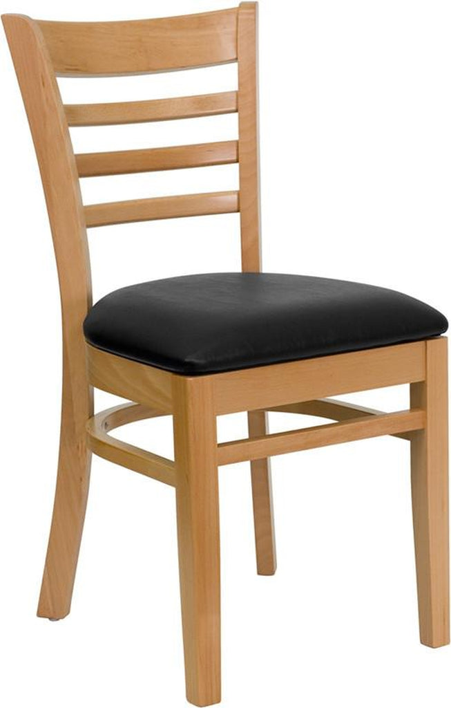 HERCULES SERIES NATURAL WOOD FINISHED LADDER BACK WOODEN RESTAURANT CHAIR WITH BLACK VINYL SEAT