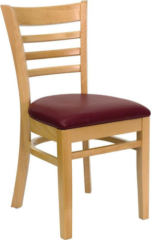 HERCULES SERIES NATURAL WOOD FINISHED LADDER BACK WOODEN RESTAURANT CHAIR WITH BURGUNDY VINYL SEAT