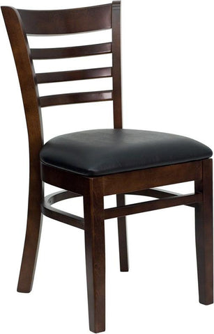 HERCULES SERIES WALNUT FINISHED LADDER BACK WOODEN RESTAURANT CHAIR WITH BLACK VINYL SEAT