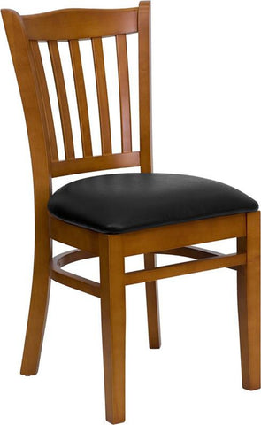 HERCULES SERIES CHERRY FINISHED VERTICAL SLAT BACK WOODEN RESTAURANT CHAIR WITH BLACK VINYL SEAT