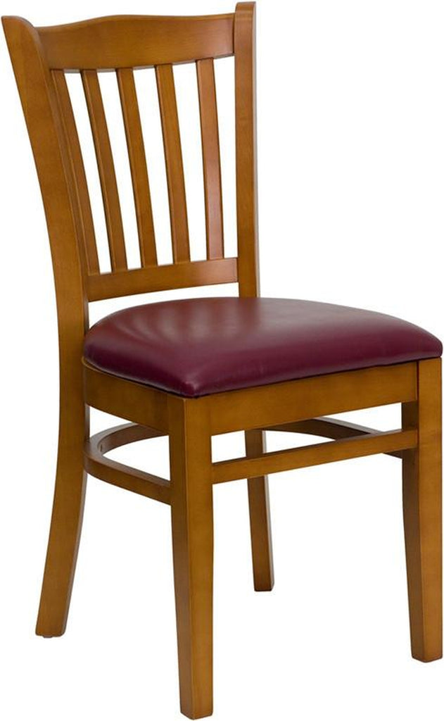 HERCULES SERIES CHERRY FINISHED VERTICAL SLAT BACK WOODEN RESTAURANT CHAIR WITH BURGUNDY VINYL SEAT