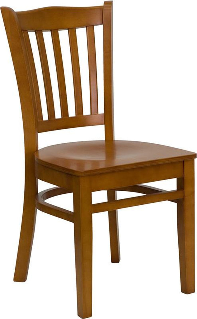 HERCULES SERIES CHERRY FINISHED VERTICAL SLAT BACK WOODEN RESTAURANT CHAIR