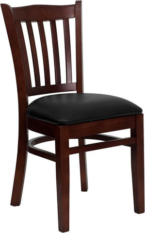 HERCULES SERIES MAHOGANY FINISHED VERTICAL SLAT BACK WOODEN RESTAURANT CHAIR WITH BLACK VINYL SEAT