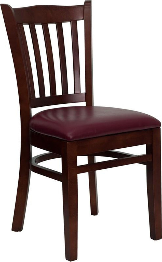 HERCULES SERIES MAHOGANY FINISHED VERTICAL SLAT BACK WOODEN RESTAURANT CHAIR WITH BURGUNDY VINYL SEAT