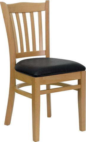 HERCULES SERIES NATURAL WOOD FINISHED VERTICAL SLAT BACK WOODEN RESTAURANT CHAIR WITH BLACK VINYL SEAT