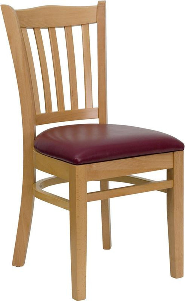 HERCULES SERIES NATURAL WOOD FINISHED VERTICAL SLAT BACK WOODEN RESTAURANT CHAIR WITH BURGUNDY VINYL SEAT