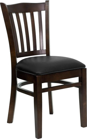 HERCULES SERIES WALNUT FINISHED VERTICAL SLAT BACK WOODEN RESTAURANT CHAIR WITH BLACK VINYL SEAT