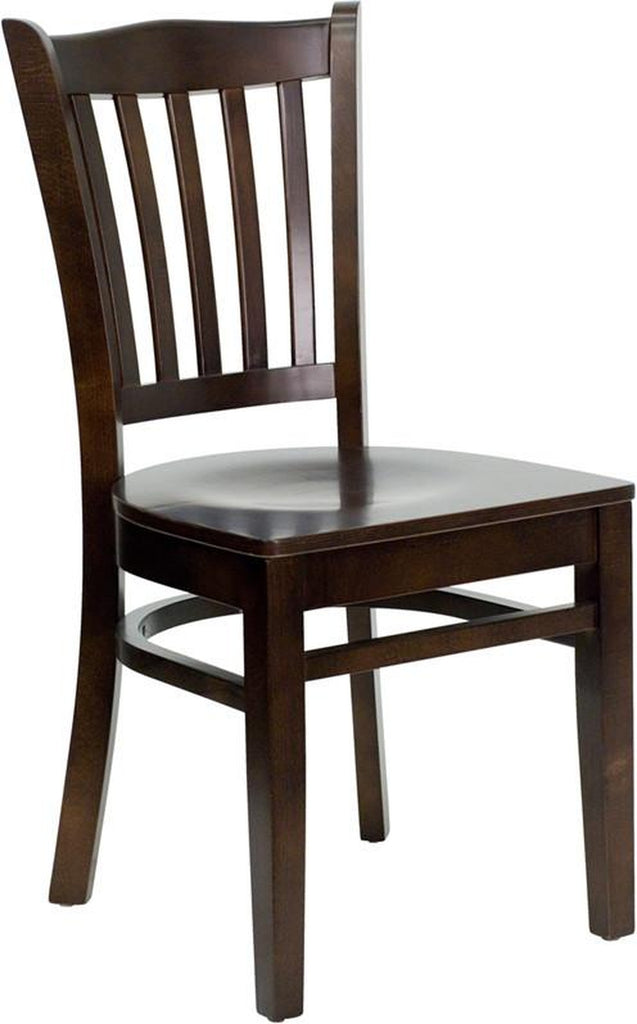 HERCULES SERIES WALNUT FINISHED VERTICAL SLAT BACK WOODEN RESTAURANT CHAIR