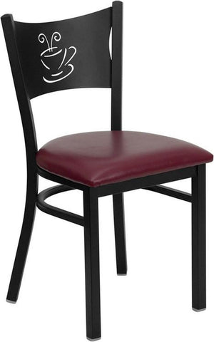 HERCULES SERIES BLACK COFFEE BACK METAL RESTAURANT CHAIR WITH BURGUNDY VINYL SEAT