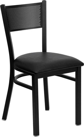 HERCULES SERIES BLACK GRID BACK METAL RESTAURANT CHAIR WITH BLACK VINYL SEAT