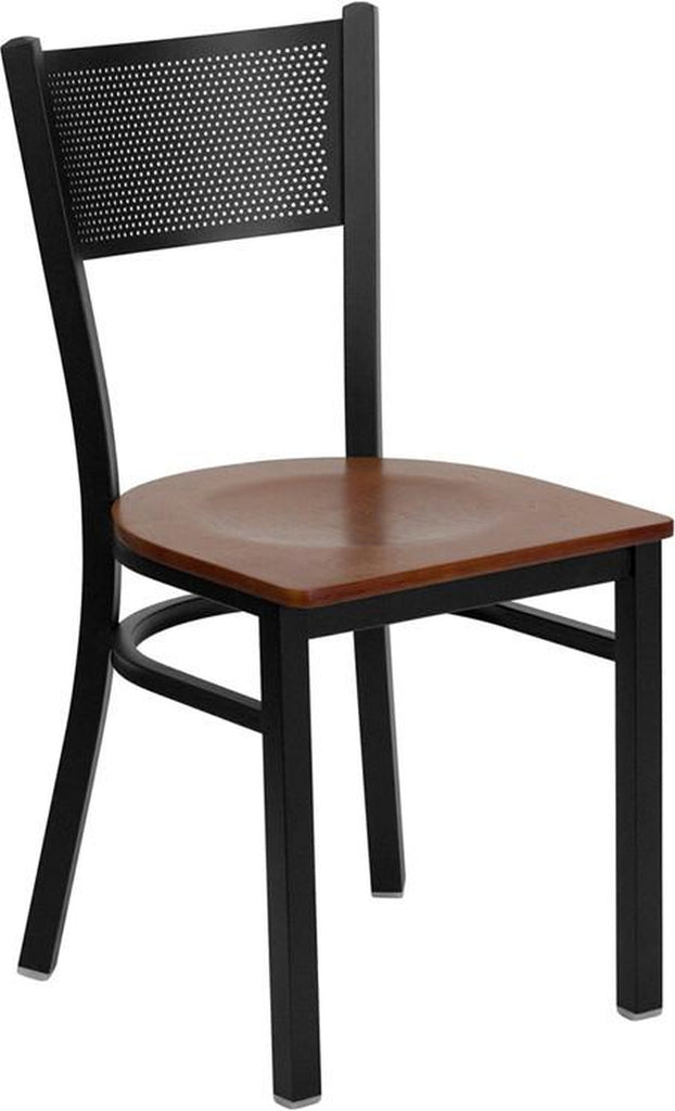 HERCULES SERIES BLACK GRID BACK METAL RESTAURANT CHAIR WITH CHERRY WOOD SEAT