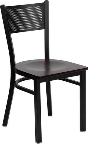 HERCULES SERIES BLACK GRID BACK METAL RESTAURANT CHAIR WITH MAHOGANY WOOD SEAT
