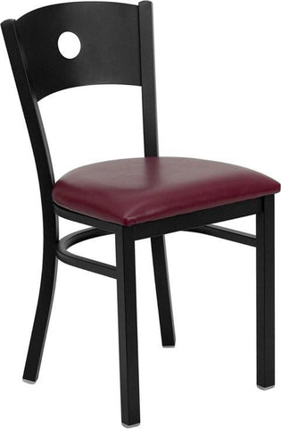 HERCULES SERIES BLACK CIRCLE BACK METAL RESTAURANT CHAIR WITH BURGUNDY VINYL SEAT