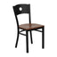 HERCULES SERIES BLACK CIRCLE BACK METAL RESTAURANT CHAIR WITH CHERRY WOOD SEAT