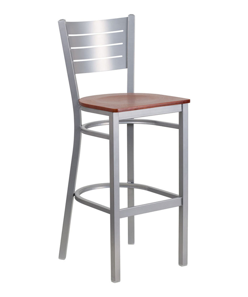 Flash Furniture Hercules Series Silver Slat Back Metal Restaurant Barstool with Cherry Wood Seat [Xu-Dg-60402-Bar-Chyw-Gg]