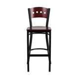 Flash Furniture HERCULES Series Black Decorative 4 Square Back Metal Restaurant Barstool - Mahogany Wood Back & Seat [XU-DG-60515-MAH-BAR-MTL-GG]