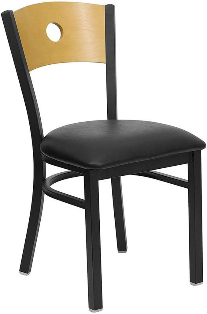 HERCULES SERIES BLACK CIRCLE BACK METAL RESTAURANT CHAIR WITH NATURAL WOOD BACK & BLACK VINYL SEAT